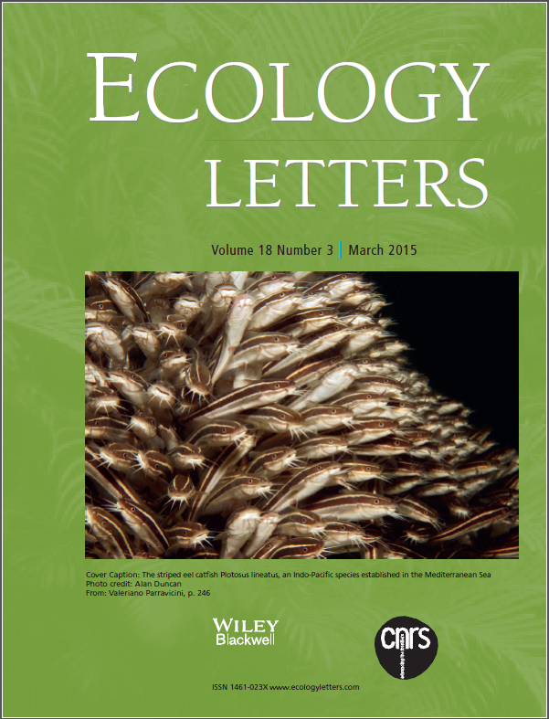 Valeriano Parravicini - Ecology Letters - cover
